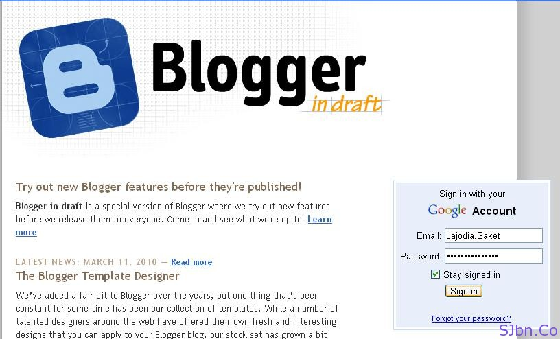 login page of blogger in draft