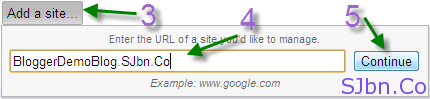 Add a site... button