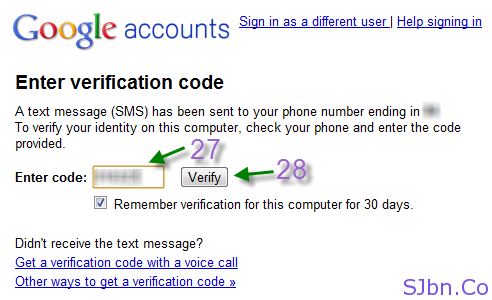 Google 2-step verification - Enter verification code
