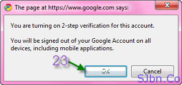 Google 2-step verification - Popup verification