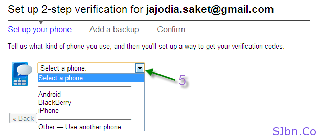 Google 2-step verification - Select a phone