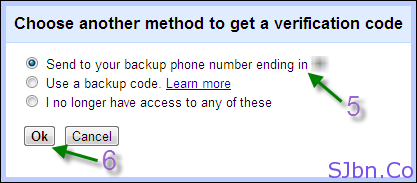 Google 2-step verification - Send to your backup phone number ending in