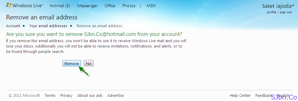 Remove an email address