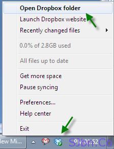 Dropbox icon -- Open Dropbox folder