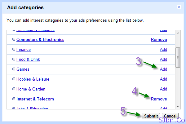 Google Ads Preferences - Add categories