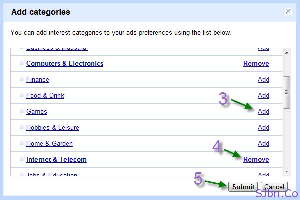 Google Ads Preferences - Add categories
