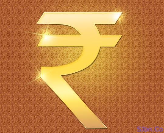 Indian Rupee Sign ₹ In Golden