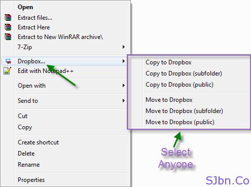 Right Click -- Dropbox...
