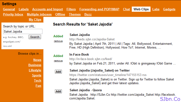 Gmail Web Clips - Search Results for 'Saket Jajodia'