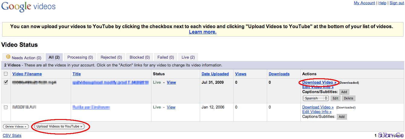Google Videos To YouTube