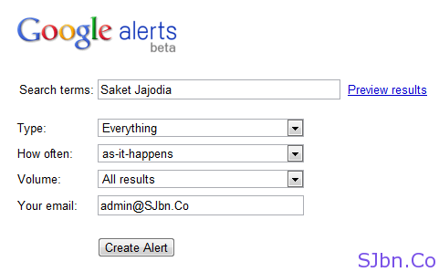 Google alerts beta form