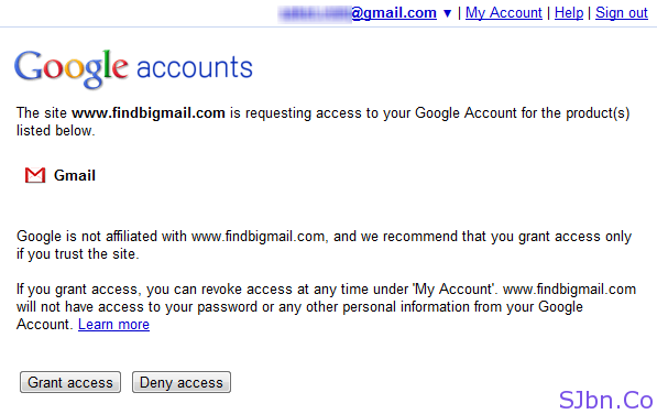 Grant FindBigMail access to your Gmail account