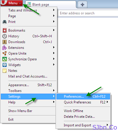 Opera - Menu -- Settings -- Preferences…
