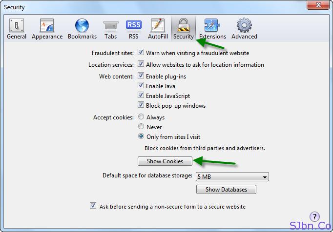 Safari - Security tab -- Show Cookies button