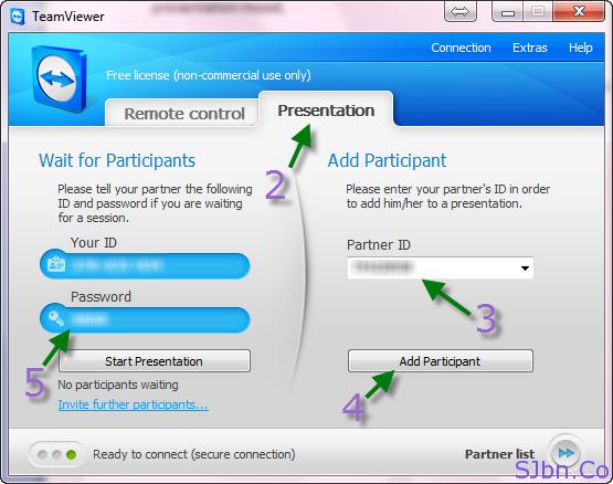 TeamViewer Presentation tab