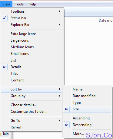 Toolbar - View -- Shrot by -- Size