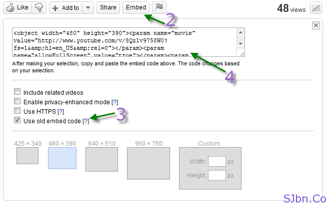 Use YouTube Old Embed Code