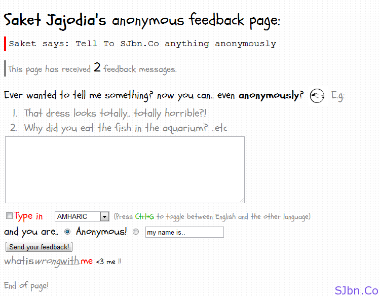 WhatIsWrongWith.Me - Saket Jajodia's anonymous feedback embed page