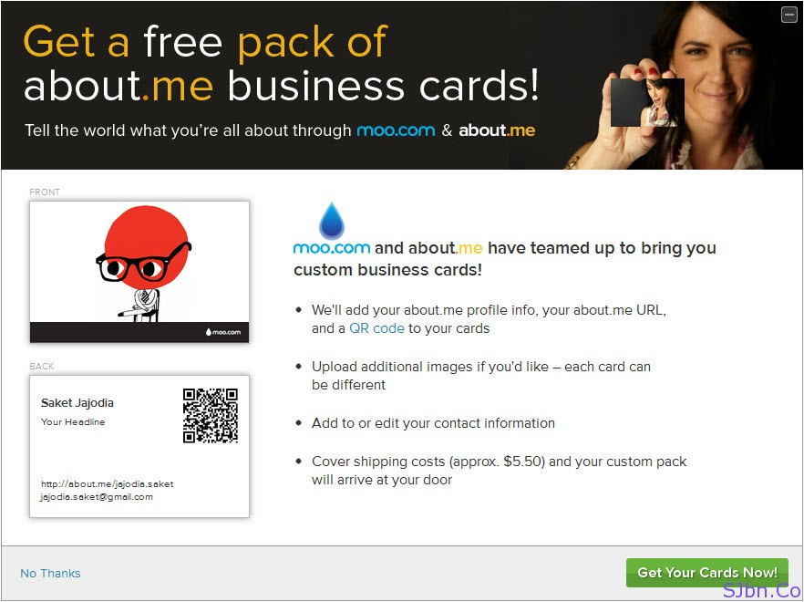 Get a free pack of abount.me business cards