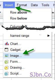 Google Docs Spreadsheets - Insert -- Image...