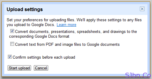 Google Docs - Upload Folder - Upload settings