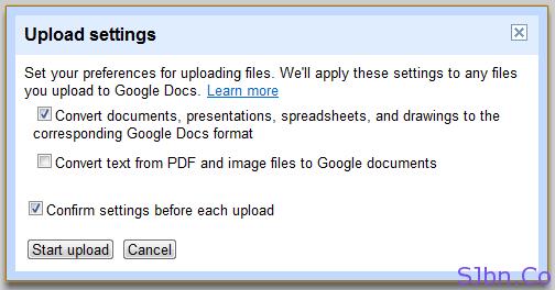 Google Docs - Upload Folder - Upload settings