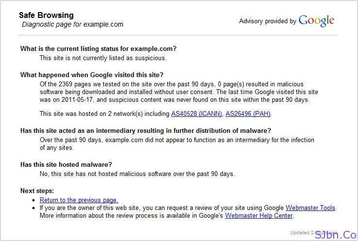 Google Safe Browsing Diagnostic page
