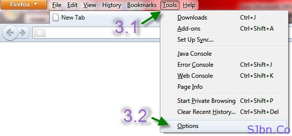 Firefox - Tool -- Options...
