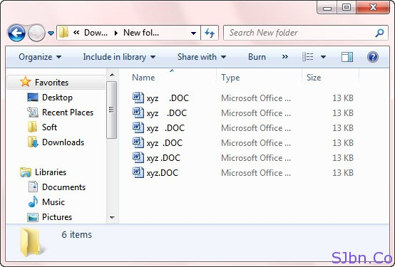 Six Files With Same Name And With Unhidden Extension