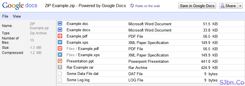 Google Docs - Example zip files