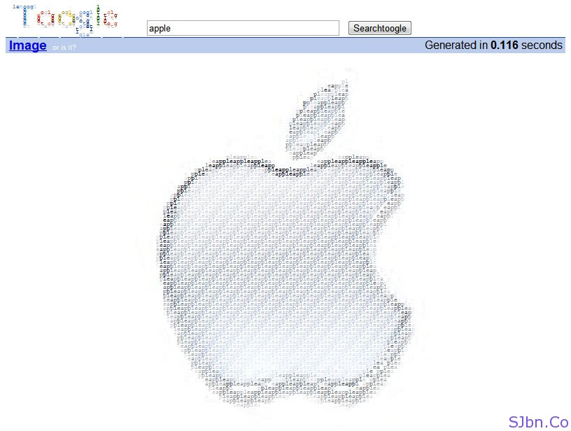 Apple logo in text image (ASCII) using Toogle