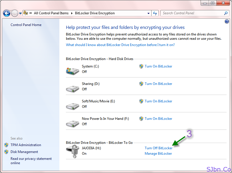 BitLocker Drive Encryption -- Turn Off BitLocker