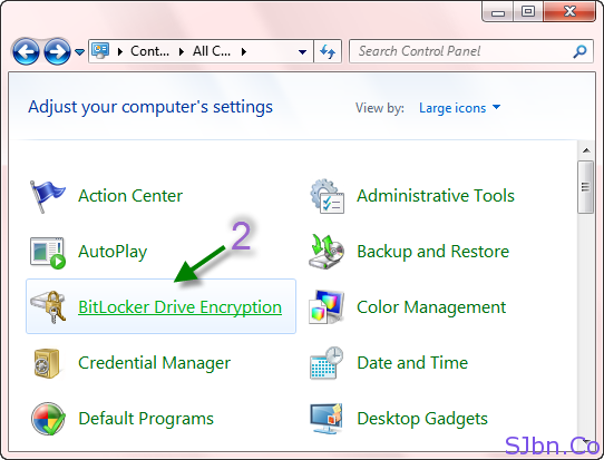Control Panel -- BitLocker Drive Encryption
