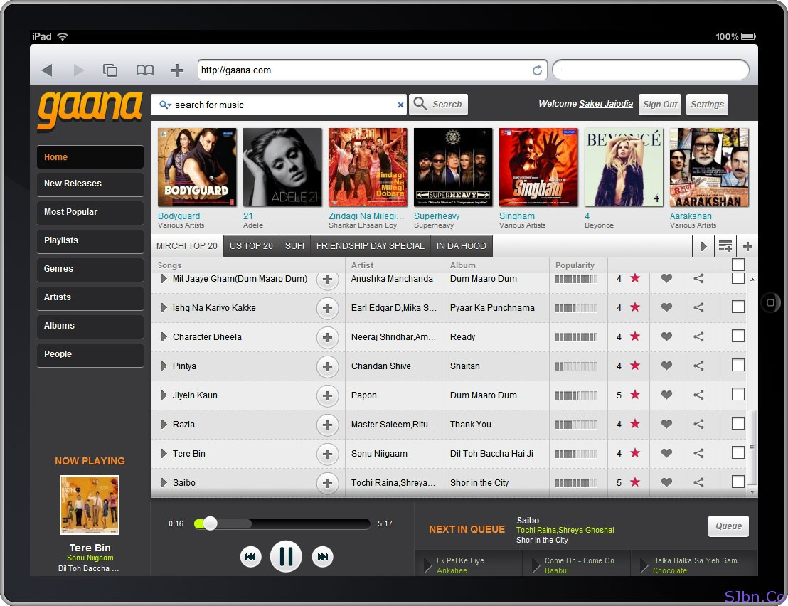 Gaana.com In Non-Flash Devices (iPad)