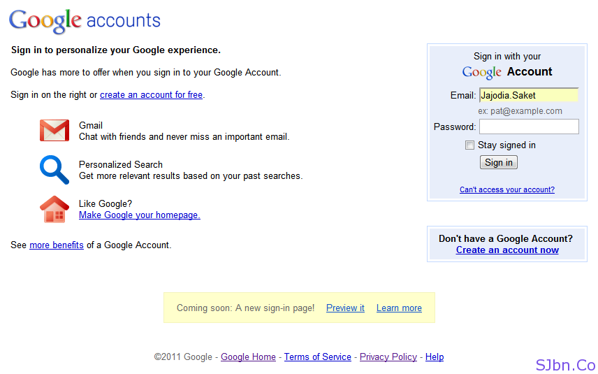 Gmail New Login Page