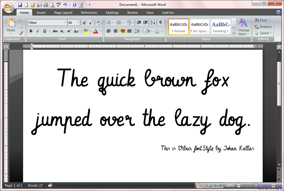 This is Vibur font Style by Johan Kallas
