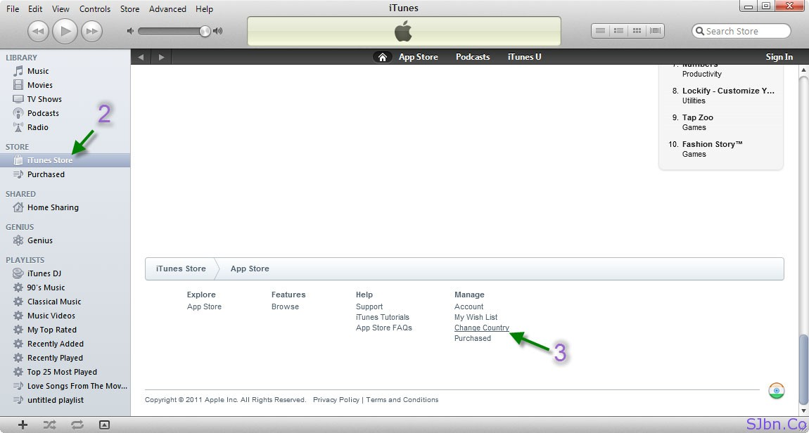 iTunes Store -- Change Country