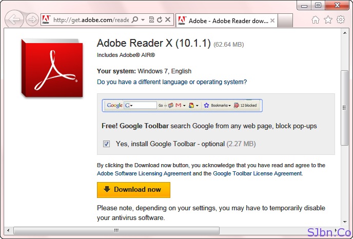 Get Google Toolbar With Adobe Reader In Internet Explorer (IE)