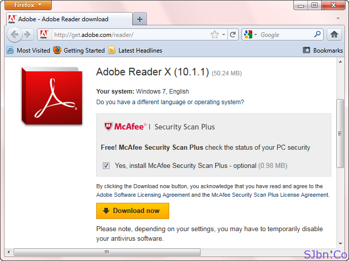 Get McAfee Security Scan Plus With Adobe Reader In Firefox