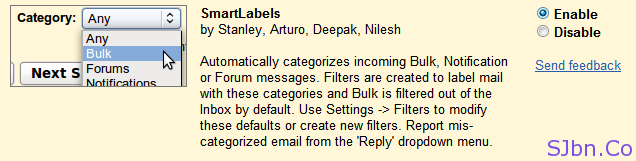 Gmail Labs SmartLabels