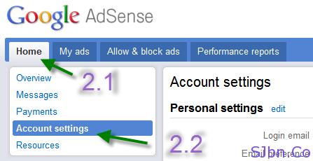 Home - Account settings