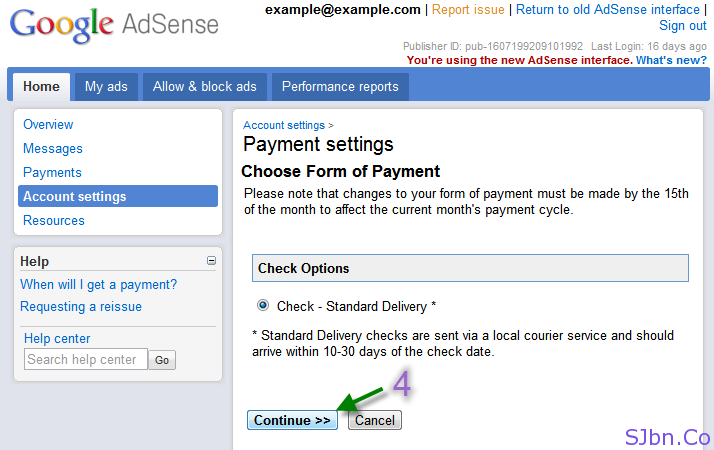 Payment settings Choose Form of Payment