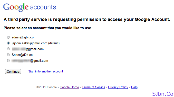 A third party service is requesting permission to access your Google Account