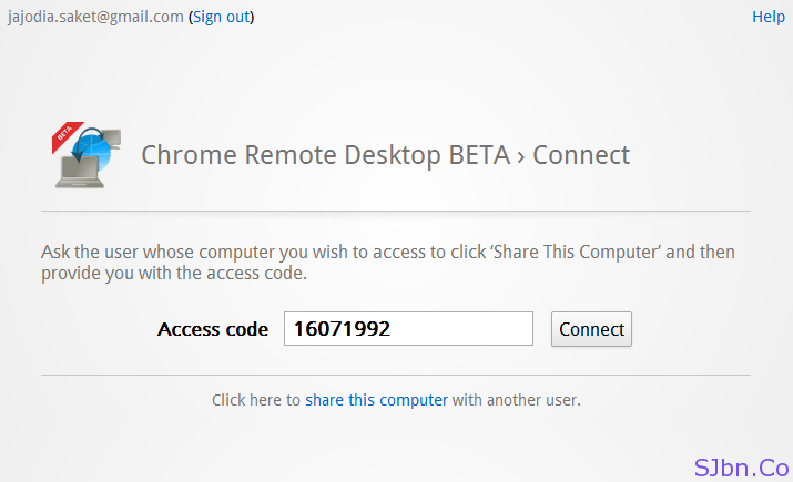 Chrome Remote Desktop BETA › Connect