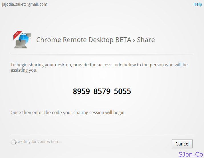 Chrome Remote Desktop BETA › Share - onetime unique access code