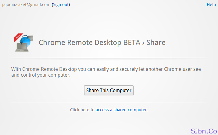 Chrome Remote Desktop BETA › Share
