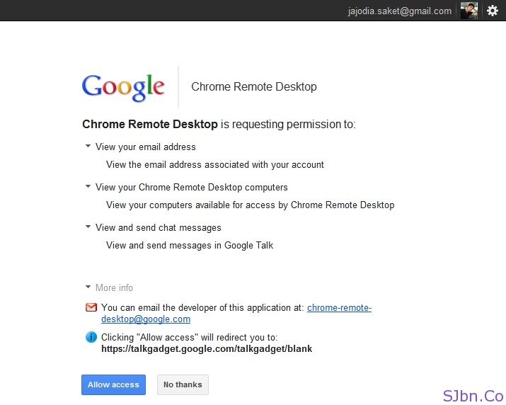 Chrome Remote Desktop is requesting permission to