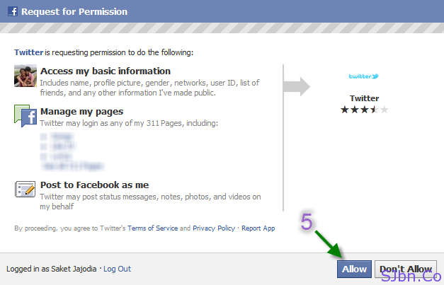 Facebook Popup - Allow