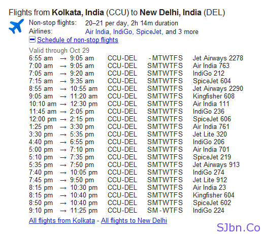 Google Search Flights - Kolkata to Delhi