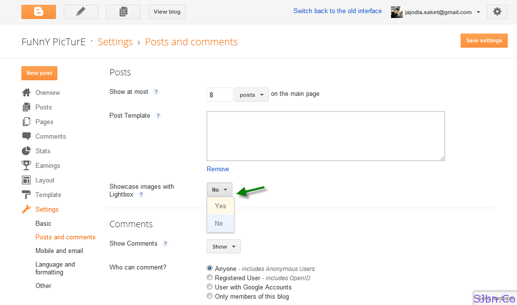 In new Blogger User Interface